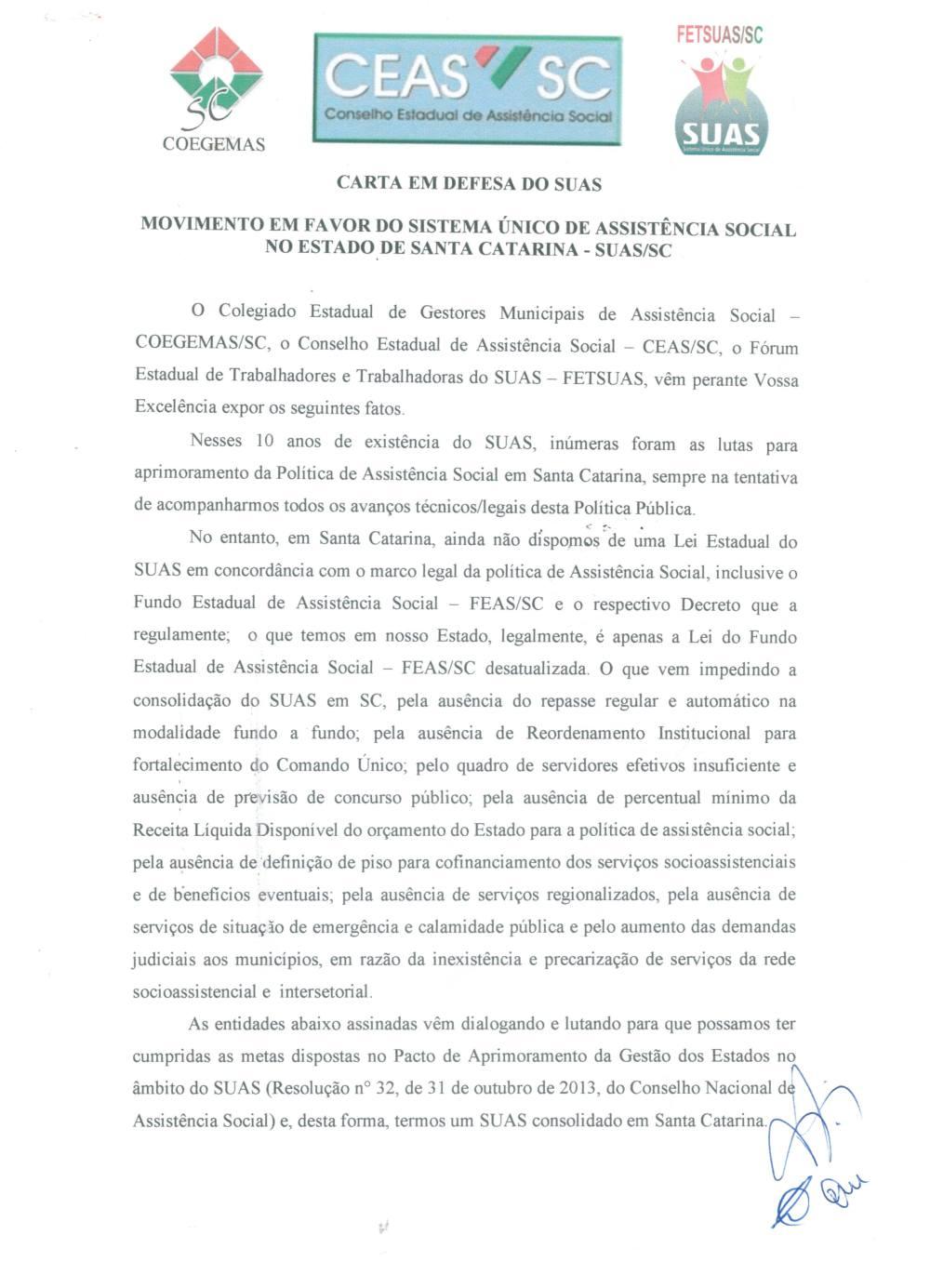 Carta em Defesa do SUAS